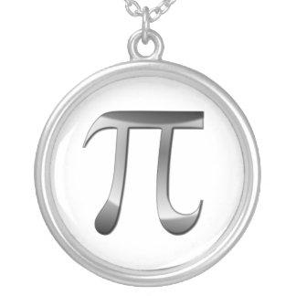 Shiny Silver Pi Symbol Round Pendant Necklace