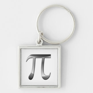 Shiny Silver Pi Symbol Silver-Colored Square Keychain
