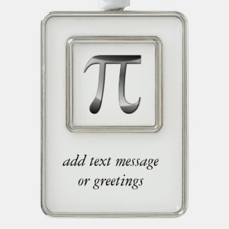 Shiny Silver Pi Symbol Silver Plated Framed Ornament