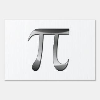 Shiny Silver Pi Symbol Sign