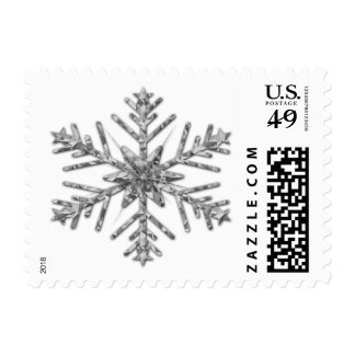 Shiny Silver Sparkly Winter Snowflake Postage