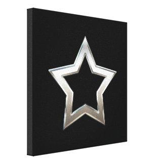Shiny Silver Star Shape Outline Digital Design Canvas Print