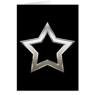 Shiny Silver Star Shape Outline Digital Design Card