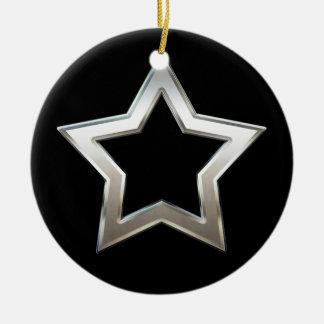 Shiny Silver Star Shape Outline Digital Design Ceramic Ornament