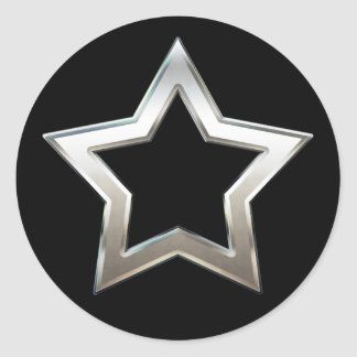 Shiny Silver Star Shape Outline Digital Design Classic Round Sticker