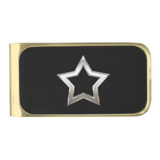 Shiny Silver Star Shape Outline Digital Design Gold Finish Money Clip