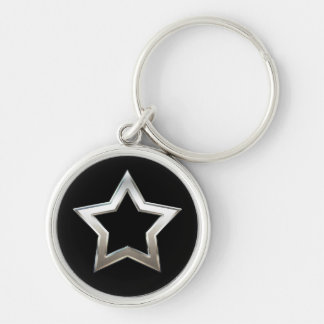 Shiny Silver Star Shape Outline Digital Design Keychain