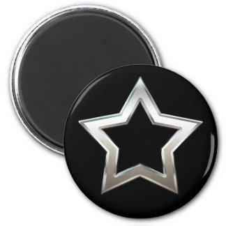 Shiny Silver Star Shape Outline Digital Design Magnet