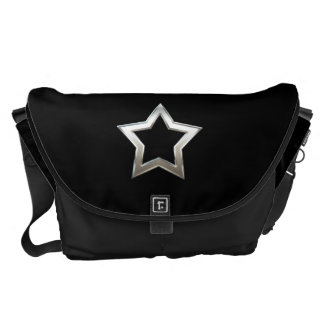 Shiny Silver Star Shape Outline Digital Design Messenger Bag