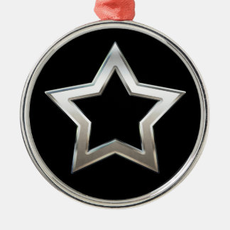 Shiny Silver Star Shape Outline Digital Design Metal Ornament