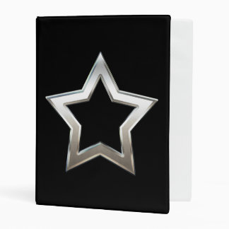 Shiny Silver Star Shape Outline Digital Design Mini Binder