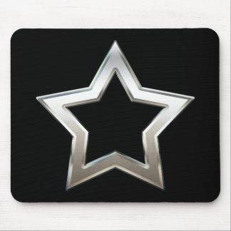 Shiny Silver Star Shape Outline Digital Design Mouse Pad