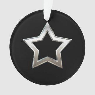 Shiny Silver Star Shape Outline Digital Design Ornament