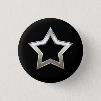 Shiny Silver Star Shape Outline Digital Design Pinback Button