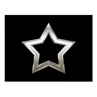 Shiny Silver Star Shape Outline Digital Design Postcard