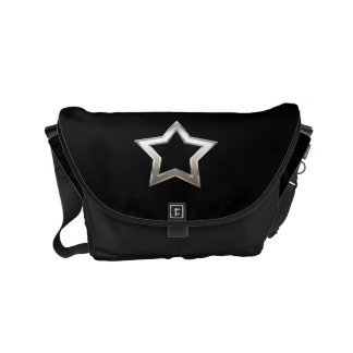 Shiny Silver Star Shape Outline Digital Design Small Messenger Bag