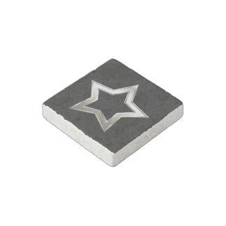 Shiny Silver Star Shape Outline Digital Design Stone Magnet