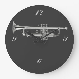 Shiny silver trumpet on charcoal background large clock
