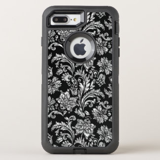 Shiny Silver Vintage Damasks On Black OtterBox Defender iPhone 8 Plus/7 Plus Case
