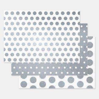 Shiny Silver White Polka Dot Pattern Foil Wrapping Paper Sheets