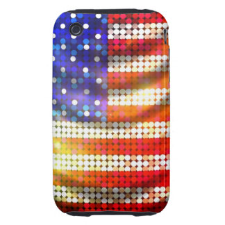 Shiny Sparkling Beaded Sequin American Flag Case iPhone 3 Tough Case