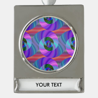 Shiny spiral pattern silver plated banner ornament