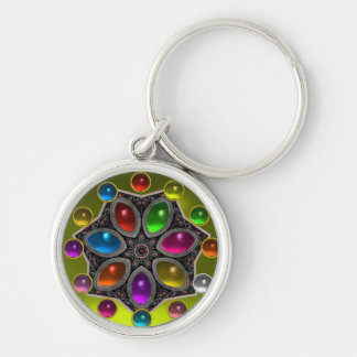 SHINY STAR WITH COLORFUL GEMSTONES Gold Yellow Keychain