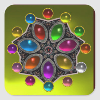 SHINY STAR WITH COLORFUL GEMSTONES Gold Yellow Square Sticker