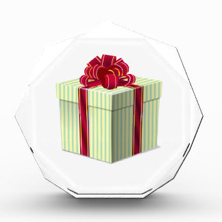 Shiny Striped Gift/Present with Red Bow Ribbon Acrylic Award