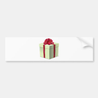 Shiny Striped Gift/Present with Red Bow Ribbon Bumper Sticker