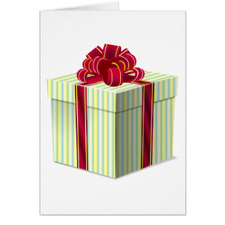 Shiny Striped Gift/Present with Red Bow Ribbon Card