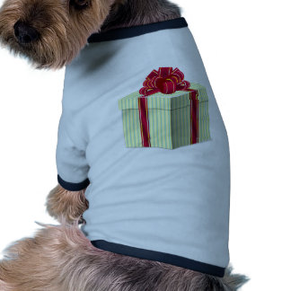 Shiny Striped Gift/Present with Red Bow Ribbon Pet T-shirt