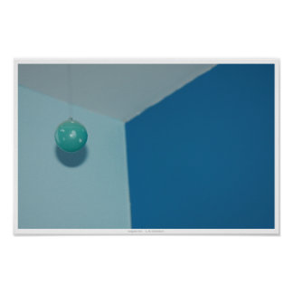 Shiny Teal Ball Abstract Poster