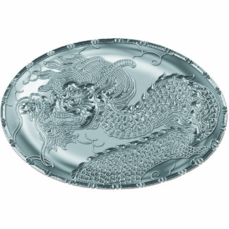 Shiny Teal Metallic Dragon Medallion Photo Sculpture Button