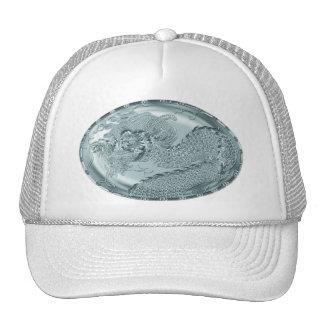 Shiny Teal Metallic Dragon Medallion Trucker Hat