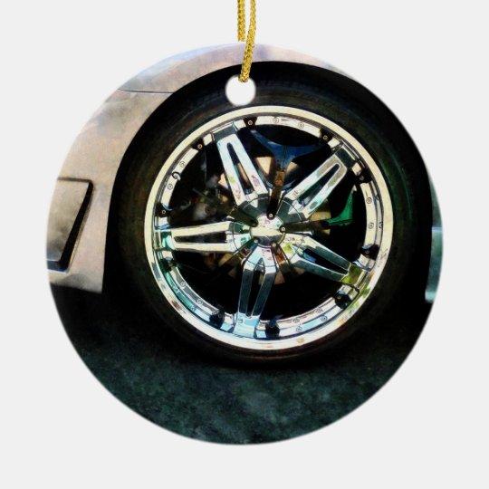 Shiny Wheels Ceramic Ornament