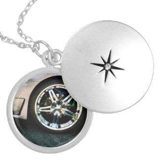 Shiny Wheels Round Locket Necklace