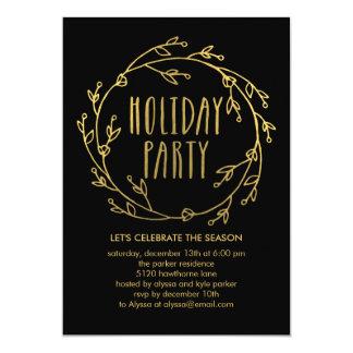 """Shiny Wreath Holiday Party Invitation 5"""" X 7"""" Invitation Card"""