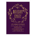 Shiny Wreath Holiday Party Invitation - Purple
