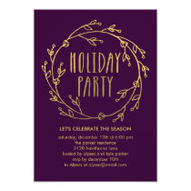 Shiny Wreath Holiday Party Invitation - Purple