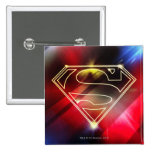 Shiny Yellow Outline Superman Logo 2 Inch Square Button
