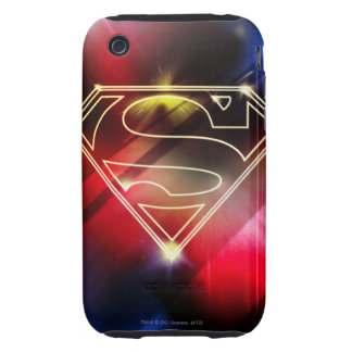 Shiny Yellow Outline Superman Logo iPhone 3 Tough Covers