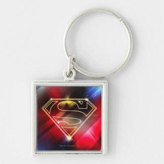 Shiny Yellow Outline Superman Logo Keychain