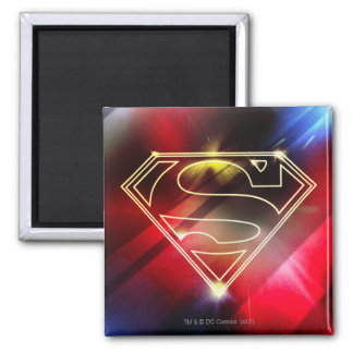 Shiny Yellow Outline Superman Logo 2 Inch Square Magnet
