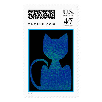 ShinyBlue Cat Silhouette Postage