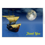 ship 3d with moon background thank you card