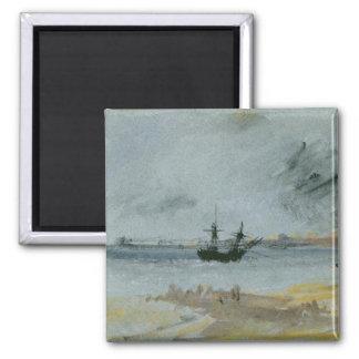 Ship Aground, Brighton, 1830 (black ink, w/c & bod Magnet