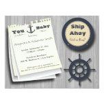 "Ship Ahoy Girl Or Boy Nautical Baby Shower Invite 4.25"" X 5.5"" Invitation Card"