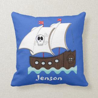 Ship Ahoy Matey Kids Pirate Ship Themed Throw Pillow