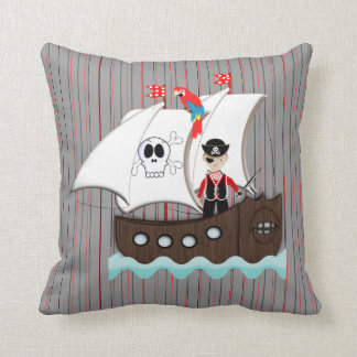 Ship Ahoy Matey Kids Pirate Theme Throw Pillow